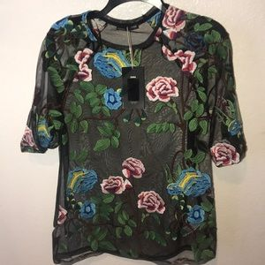New with tags! Zara flowered sheer top